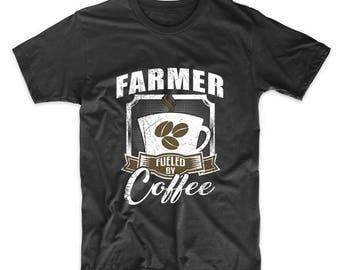 Farmer Fueled By Coffee Funny T-Shirt