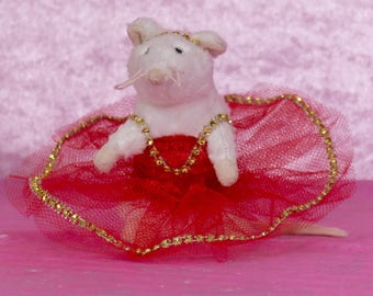 mouse dancer tutu red and gold, small opera rat, mouse dancer