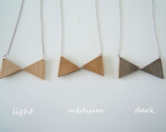 3D printed wooden necklace-bow tie-3 colors