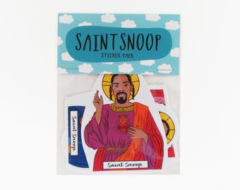 SAINT SNOOP DOGG, sticker pack, snoop dogg stickers, snoog dog sticker pack, snoop sticker set, rapper stickers, hip hop stickers, hand cut