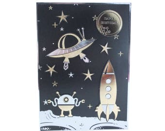 Birthday card, Black and Gold, space theme, rocket and UFO, outta space, handmade card