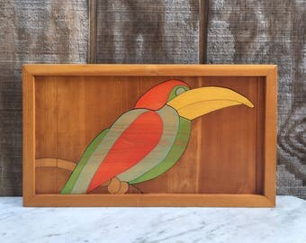 Vintage Toucan Wood Wall Hanging // Hand Painted // Inlaid Wood // 1970's