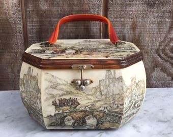 Vintage Anton Pieck Decoupage Wooden Purse with Twisted Lucite Handle // 1960's
