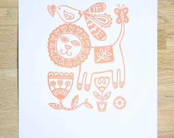 Lion Screen Print - Hand Screen Printed, Screen Print, Lion Print, Animal Print, Copper, Birthday Gift, Housewarming Gift