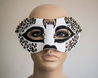 Day Of The Dead Leopard Half-Mask