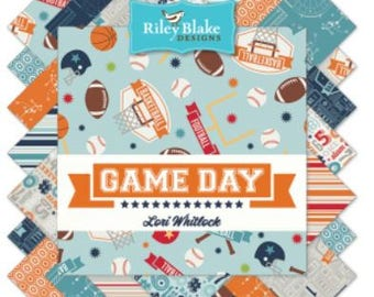 """Riley Blake Game Day Fabric; 5"""" square stackers, 42 piece assortment"""