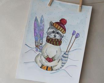 Raccoon Painting - Watercolour Paint - Kids Room Art - Nursery Decor - Kid Room Picture - Kids Painting - Animal Painting - Aquarelle