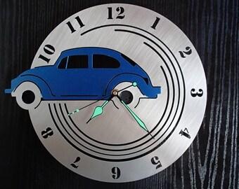 Wall clock Volkswagen Beetle stainless steel Mural art watch design wall clock VW Beetle