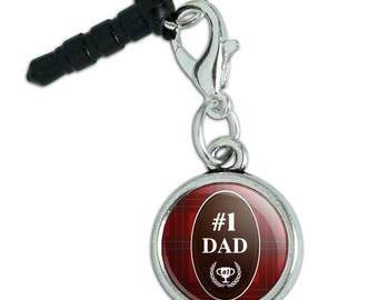 Dad Number One Best Father Plaid Mobile Cell Phone Headphone Jack Anti-Dust Charm fits iPhone iPod Galaxy