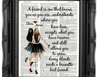 Best Friend Gift for Best Friend BIRTHDAY Gift Every Blonde needs a brunette best friend Quote print Gift Best Friend Birthday Gift 166