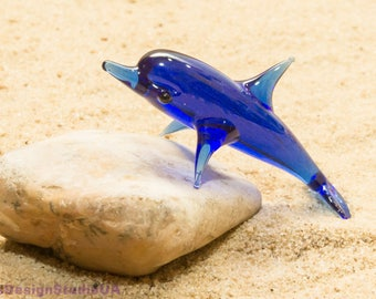 Glass figurine dolphins glass animals dolphin Murano glass figurines hand blown glass fish home decor lampwork gift for him Unique Gifts