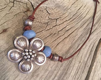 Antique Eye Skunk Trade Beads And Bali Sterling Silver Flower Pendant Necklace