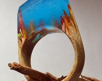 Handmade Unique Resin Wood Ring