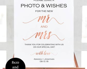 Photobooth Sign Instant Download - Rose Gold Wedding Sign - Photobooth Sign Please leave a photo & wishes - Downloadable wedding #WDH81MRAMS
