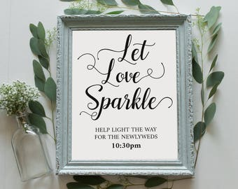 Let Love Sparkle Wedding Sign Instant Download - DIY Printable -  Wedding Sign - Modern Calligraphy -  Downloadable wedding #WDH101_24