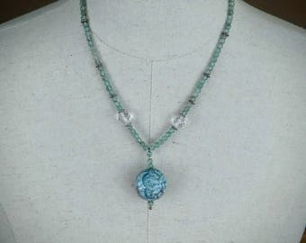The Sun Moon and Stars , Teal Blue Apatite, Clear Quartz, and Solid Sterling Beaded Necklace