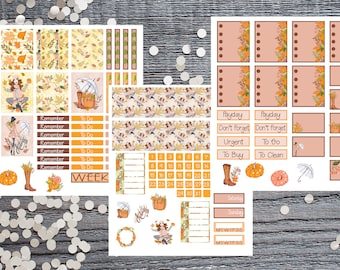 Autumn 3 Page Planner Sticker Kit-Autumn Planner Stickers Compatible with Most Large Planners-Brown and Tan Plannner Stickers