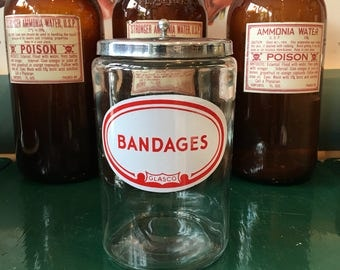 Hospital for bandages Vintage glass jar