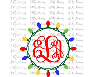 Christmas Lights Monogram Frame, Christmas  File/DXF Cut Files, SVG Cut File, Cricut File, Silhouette SVG