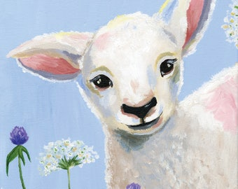 11x14 Baby Lamb - Vertical Print - Children's - Nursery Art