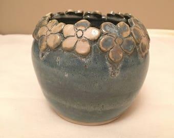 Blue green flower vase
