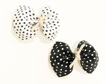 Polka dot headband, black and white headband, faux leather headband
