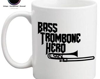 Bass Trombone Hero- Funny Mug- Gift for Trombone Player- Gift for Brass Player- Brass Band Gift- FREE UK SHIPPING