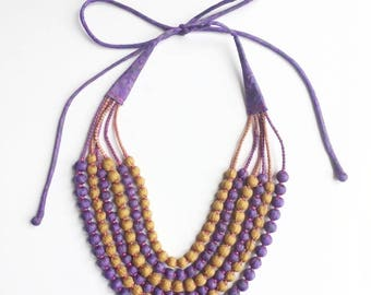 Exclusive, one-of-kind, 6 String Statement Sari Bead Necklace - Purple/Mustard