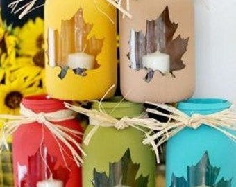 Autumn Maple Leaf Jars