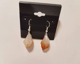 Handcrafted Citrine Point Earrings