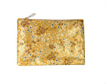 Coated Cotton - Frou-Frou Liberty - cosmetic Bag - Mustard yellow, blue, flowers Blooming