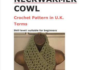Crochet pattern for Oh So Cosy neckwarmer cowl scarf