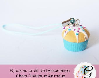 Strap Cupcake blue, white grout and multicolored sprinkles