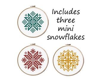 Three Mini Snowflake Cross Stitch patterns, Christmas Cross Stitch, Easy Cross Stitch, Modern cross stitch pattern pdf