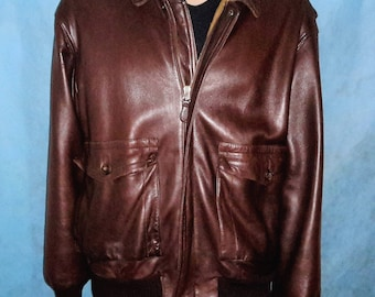 FACONNABLE bomber brown leather lined wool jacket size xl very good condition
