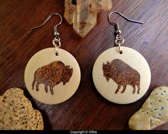 American bison earrings