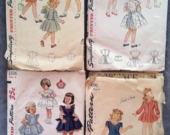 1940's and 1950's Girls' Dress Patterns - Size 4 - Simplicity 4190, 2948, 3295 & 3506 - Incomplete