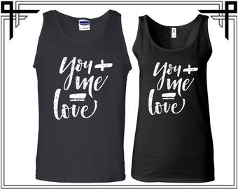 You + Me =Love Couple Tank Top Party Tanks Couple Tops Love Anniversary Love Tanks Best Selling Tank Top Gifts For Him And Her love Birds