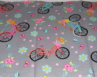 Fabric - Gray Blue Pink Green Bikes Flowers Butterflies - Sewing Crafts Scrapbook -Priority Shipping Worldwide - More Material n Shop