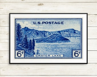 crater lake, travel art set, vintage park posters, national park posters, national park gifts, vintage national parks, crater lake gifts