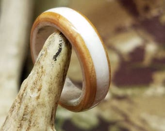 Antler Ring with Double Reversed Cedar Inlay, Antler Rings, Antler Ring, Cedar Ring, Wood Ring, Wood Rings, Gifts for Her, Gifts for Him