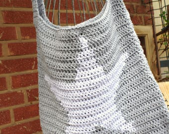 Crocheted Grey cotton bag with star