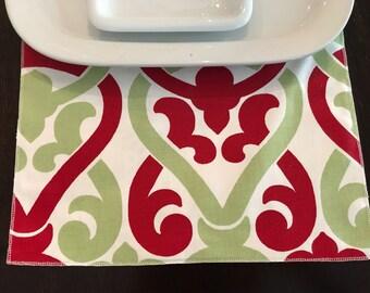 Christmas Napkins | Dining Napkins | Christmas Red Napkins | Holiday Napkins | Checkered Napkin | Red Green Napkins