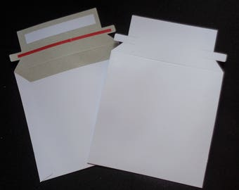 "10 - 6"" x 6"" Rigid CD DVD Media Photo White Cardboard Envelopes Mailers Stay Flat"