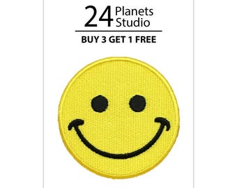 Smiley Face Iron on Patch by 24PlanetsStudio