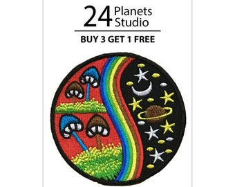 Mashroom Space Iron on Patch by 24PlanetsStudio