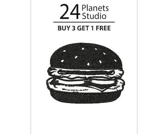 Black Burger Hamburger Iron on Patch by 24PlanetsStudio