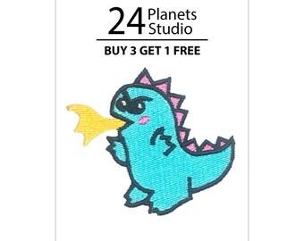 Cute Godzilla Iron on Patch by 24PlanetsStudio