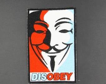 DISOBEY Vendetta Punk Embroidered  Badge Iron On Sew On Hat  Patches
