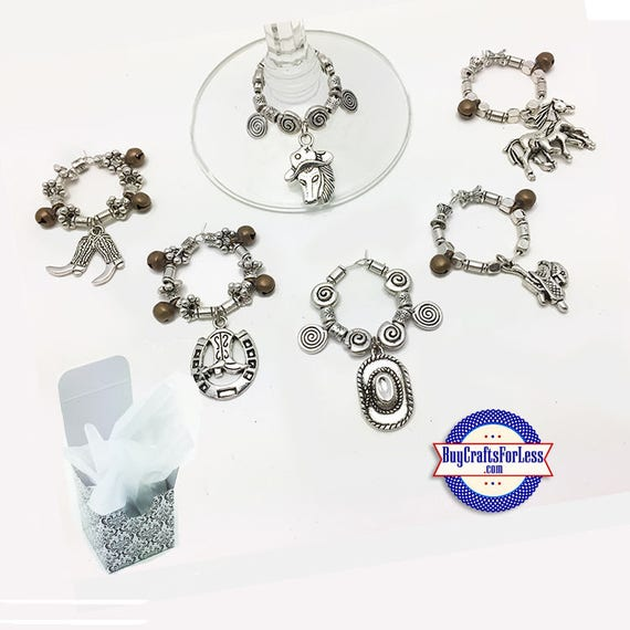 WESTERN Theme WiNE or Bottle Charms, S/6, FREE Gift Box! +FREE SHiPPiNG & Discounts*
